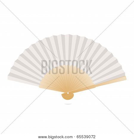 Japanese Folding Fan Isolated On White Background. Vector Illustration