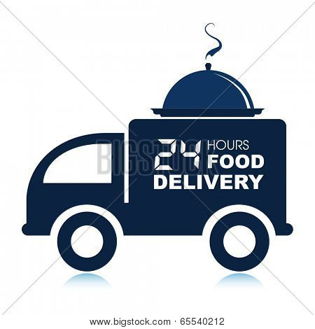 24 hours food delivery service van with platter.