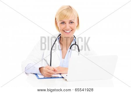 A picture of a young happy doctor with laptop and documents over white background