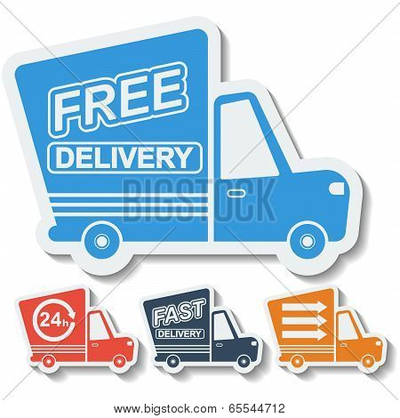 Free delivery fast delivery colorful icons set