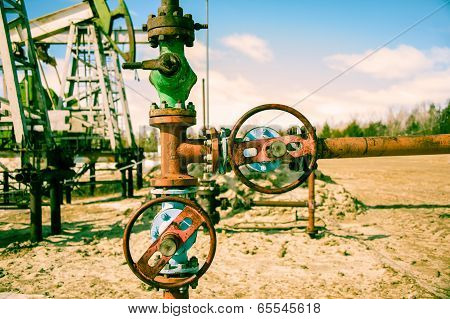 Wellhead And Pump Jack.