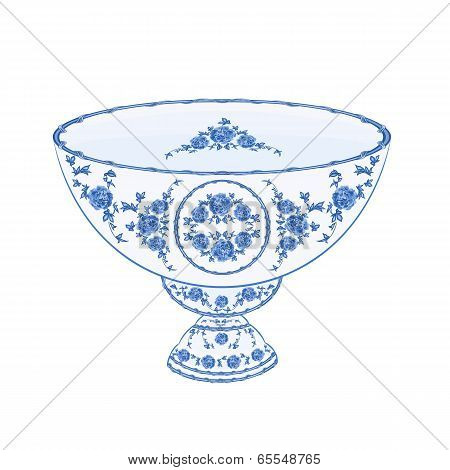 Bowl Of Fruit Faience  Vector Without Gradients