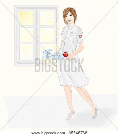 Nurse Taking Care Of Health Vector Without Gradients