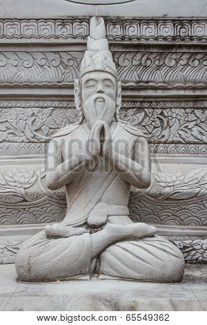 Ascetic Statue In Thai Style Molding Art, From Sement