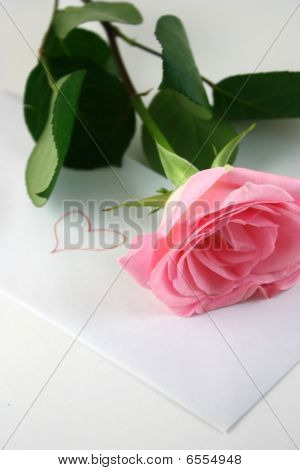 Love letter with a pink rose