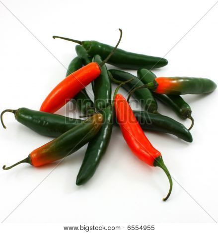 Bunch of hot serrano peppers, Capsicum annuum