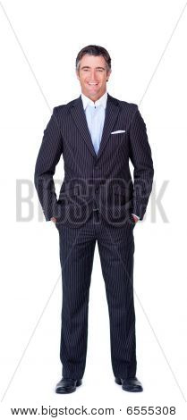 Smiling Businessman Isolated On A White Background
