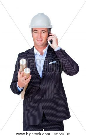 Architect With A Hardhat On Phone