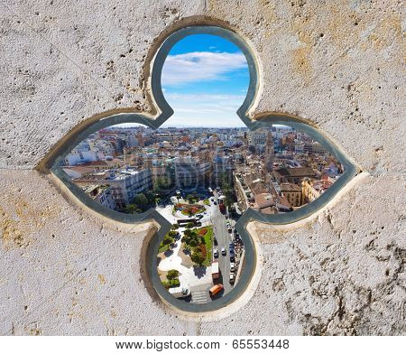 Valencia aerial skyline with Plaza de la Reina at Spain photomount