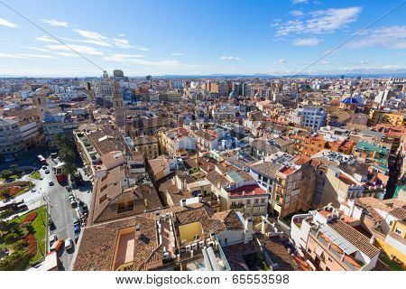 Valencia aerial skyline with Plaza de la Reina at Spain