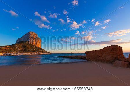 Calpe Alicante sunset at beach Cantal Roig in Mediterranean Spain