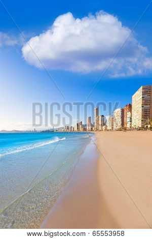 Benidorm Alicante Levante beach in blue Mediterranean Spain