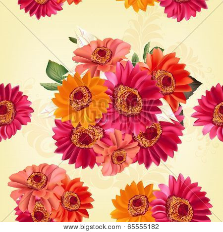 Beautiful Seamless Pattern With Roses And Flowers