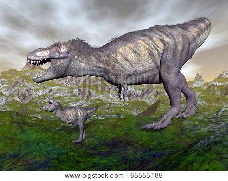 Tyrannosaurus rex dinosaur mum and baby- 3D render