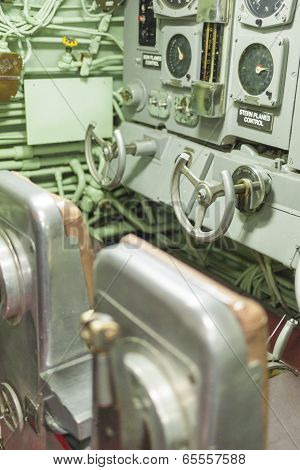 New York,USA - October 10: The Interior of the USS Growler Submarine Central Room and Attack Center