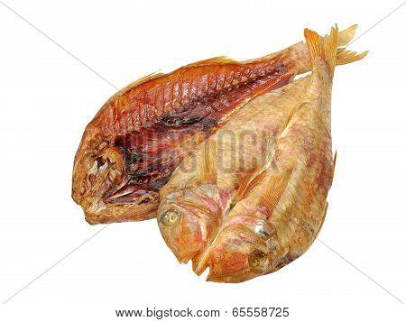 Two Dried Goatfish Taken Closeup.isolated.