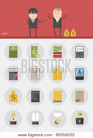 Vector set / Money / 16 flat design icons