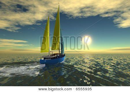 ShipSailboat sail on ocean
