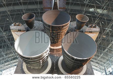 Chantilly- USA, September, 26: View of the Main Engines of the Space Shuttle Discovery on Display