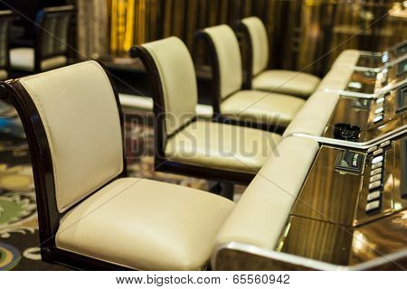 Las Vegas- USA, September, 30: Row of High Chairs in Gaming Hall in  September, 30, 2013