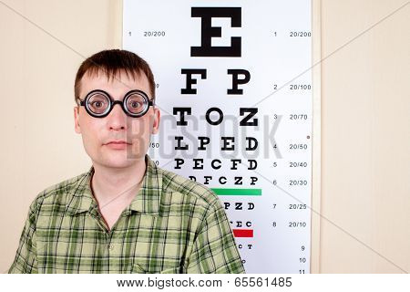 Funny man wearing spectacles in an office at the doctor