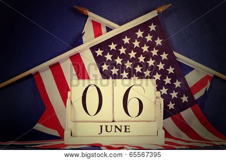 Retro Vintage Style D-day Calendar And Usa And British Flags