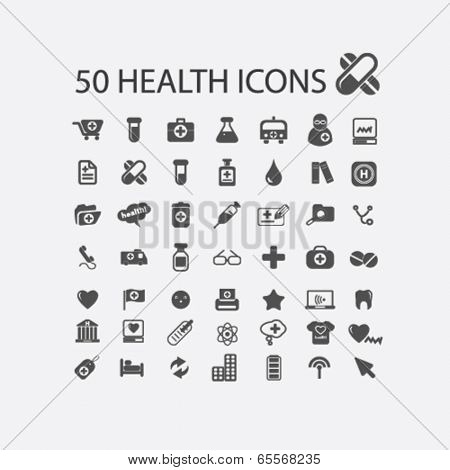 health, medicine, hospital, doctor, pharmacy icons set, vector