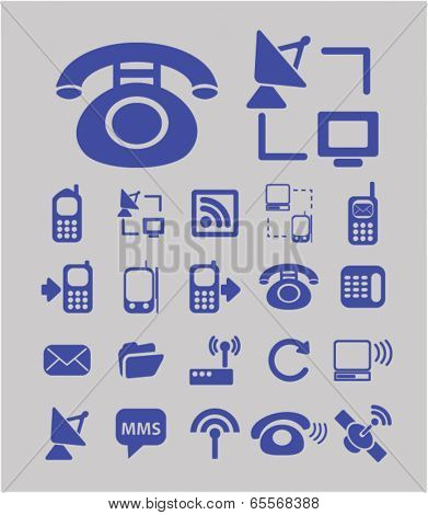 mobile, retro phone, network, link, radio connection, connection icons set, vector