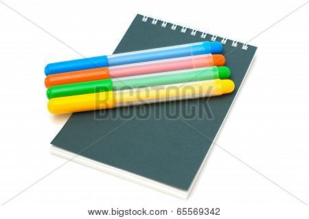 Felt-tip Pens On Notebook