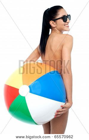 Young Woman In Swimsuit With Ball