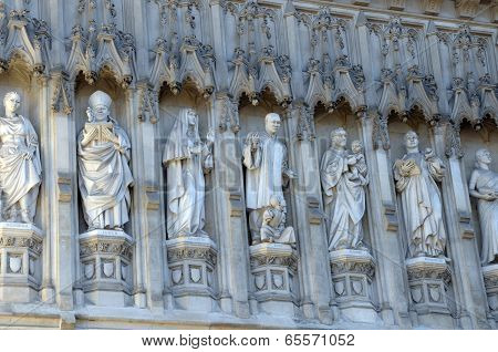 Saints carved into exterior of Westminster Abbey, London