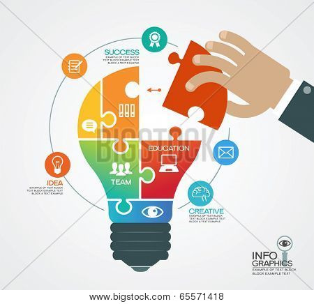 Creative vector template with a light bulb, puzzles, human hand and icons. Concept business ideas.