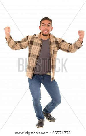 celebrating man with flannel shirt