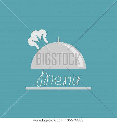 Silver platter cloche with chef  hat crown. Menu cover.