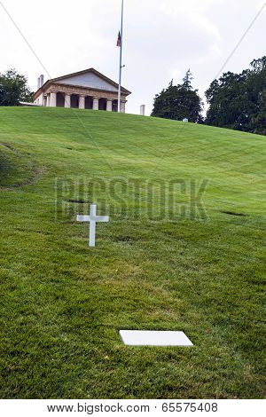 Modest Tomb Of Robert Kennedy In Arlington National Cemetery, Arlington Virginia Usa