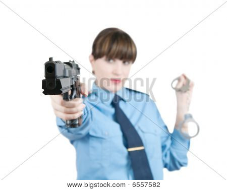 Woman In Uniform With Gun