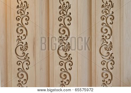 Wooden Latticework With Thai Style Design Creating A Perforated Wall