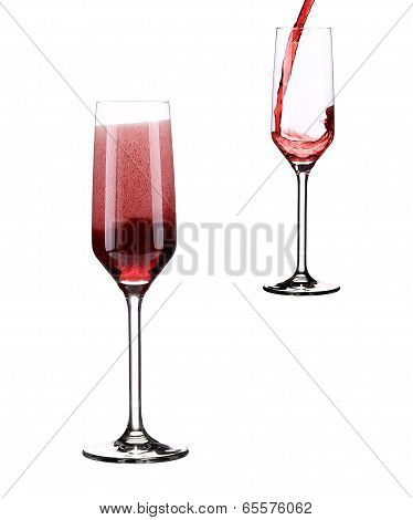 Two glass with red sparkling wine