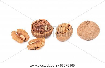 cracked and whole walnut