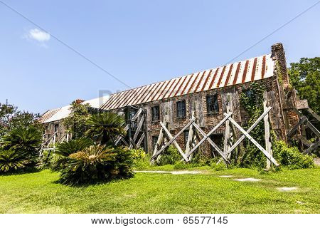 Old Ruinous Historic Hut In An Old South Carolina Farm
