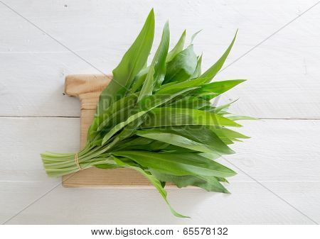 Fresh Wild Garlic On A Wooden Board