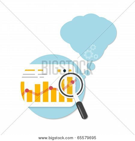 Magnifying Glass And Chart With Bubble
