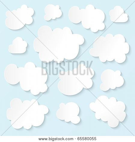 Fluffy white clouds blue sky