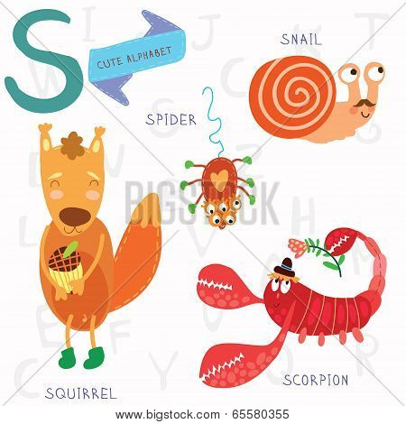 Very Cute Alphabet. S Letter.squirrel, Scorpion, Spider, Snail.