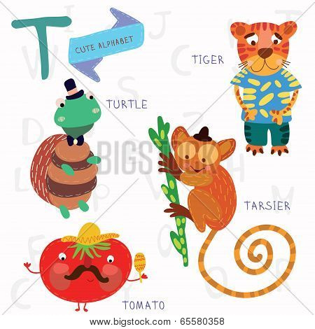 Very Cute Alphabet.t Letter. Tarsier,turtle, Tomatoes, Tiger.