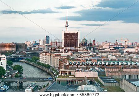 aerial image of Berlin skyline at sunset