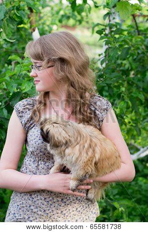 Girl And Small Dog