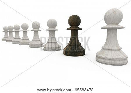 Black pawn standing with white pawns on white background