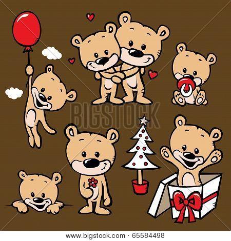 Cute Bear Family Cartoon