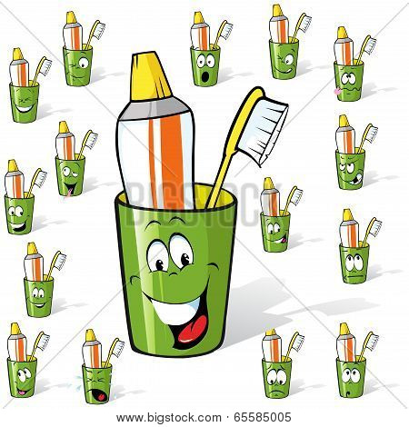Toothbrush And Toothpaste In A Cup - Cartoon With Many Expressions